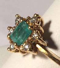 18k Green Emerald & Diamond & Gold Cocktail Ring Size 8