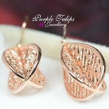 Gorgeous Hollow out Leaf Dangle Earrings W/ 18CT Rose Gold Plated