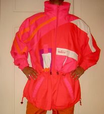 Vtg 80s 90s OBERMEYER Twister NEON Pink Red White SKI Mens XL Hooded Jacket Coat