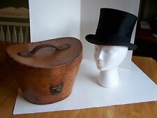 RARE VINTAGE/ANTIQUE G.E. MORE BEAVER SILK PLUSH TOP HAT WITH LEATHER CASE