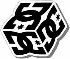 "DC SHOES ""CUBE"" STICKER (3.5"" x 3.5"") for CARS/TRUCKS/SKATE BOARDS/WALLS/BUMPER"