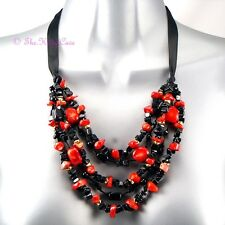 Red Coral Nuggets & Onyx Semi Precious Stone Multi Strand Statement Bib Necklace