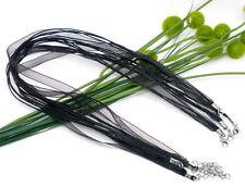 2x Halskette Organza Baumwolle gewachst Schwarz ca. 43cm Blei+Nickelfrei