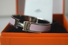 Hermes Clic Clac H Bangle Bracelet Pink Enamel Silver tone with Box Authentic