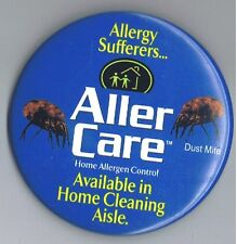 """Aller Care Allergy Control 3"""" Pinback Button Advertising Dust Mite Home Cleaning"""