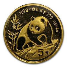 1990 China 1/20 oz Gold Panda Small Date BU (Sealed) - SKU #63803