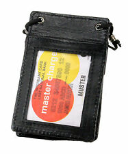 New Genuine Leather Neck Strap ID Badge Card Holder Pouch Black Tag Press Pass