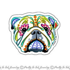 Day of the Dead English Bulldog Sugar Skull Dog Decal Sticker Dia de los Muertos