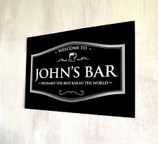 Personalised any name Welcome Best Bar Black Beer Label A4 metal sign