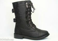 Women's Cute Mid Calf Zipper Low Heel Combat Military Lace Up Shoes Size 5 - 11