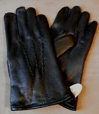 NEW Vintage Mens BLACK Leather Driving Dress Gloves  Sz S SMALL /  8  - 8 1/2