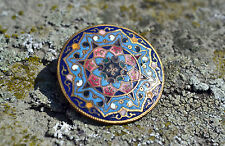 Antique cloisonne enamel brooch late 19th century Russian