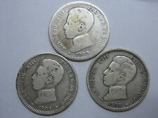 1903 - 1904 - 1905 ALFONSO XIII 1 UNA PESETA SPANISH SPAIN COIN SILVER