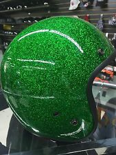 DOT GREEN METAL FLAKE HELMET DAYTONA CRUISER MOTORCYCLE HARLEY