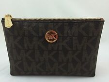 NEW Michael Kors MK Fulton Travel Case Cosmetic Bag Brown PVC, MSRP $78