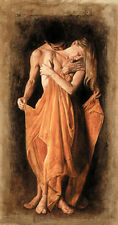 Handpainted Oil painting portraits young lovers standing no framed canvas