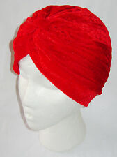 NEW HEAD WRAP INDIAN STYLE TURBAN HAT RED SOFT VELVET