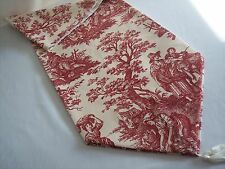 "NEW~80"" RED ON CREAM~WAVERLY Country Life Toile~Lined Tablerunner With Tassels"