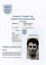 Freddie HILL Inghilterra International 1962 ORIGINALE A MANO FIRMATO RIVISTA taglio