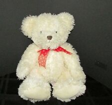 "Russ Willow 15"" plush off white red bow bean bag tush  teddy bear EUC"