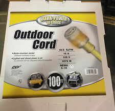 100ft. Outdoor Extension Cord w/Lighted End 10/3 gauge SJTW
