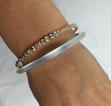 NEW Alexis Bittar Double Stacked Paired Bangle Bracelet SILVER LUCITE $175