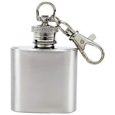 Small Mini Tiny 1 oz Stainless Steel Keychain Alcohol Flask NEW!