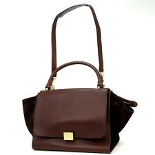 Authentic Celine Brown Leather Suede Trapeze Hand Bag Purse Satchel 8D