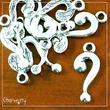 Question Mark charms ~PACK of 10~ Tibetan antique silver metal letter query bead