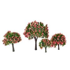 4 Pcs Model Trees Train Layout Garden Scenery White and Pink Flower Trees T4V4