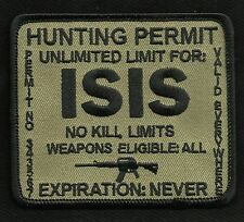 ISIS HUNTING PERMIT BIKER TACTICAL COMBAT BADGE MORALE MILITARY PATCH Brown