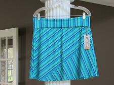 TEHAMA Outdoor Sport Green Iris Blue Stripe Fold-Over Waist Skirt Size M NWT