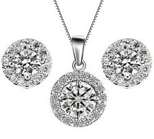 Silver Cubic Zirconia Round Halo Earrings and Pendant Necklace Set Gift Box S1