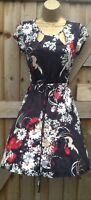 NEW RETRO 40'S STYLE TEA DRESS SKATER FLORAL BLACK RED BEIGE 8 10 12 14 16 18 20