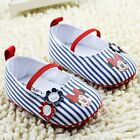 Baby Girl Minnie Mouse Disney Red & Navy Striped Mary Jane Shoes Pre Walkers