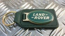 Land Rover Defender Range Discovery Enamelled Quality Green Leather Key Ring