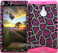 Hybrid Cover Case for Nokia Lumia 1520 Pink Leopard Bling on Pink