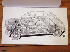 Original Cutaway Drawing Peugot 104 Autocar Magazine Illustration Oct 1972