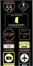 SS - FC - Mississippi Road Signs Scrapbooking Stickers - Travel, Road Trip