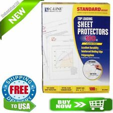 100 C-Line Clear Sheet Page Protectors 8.5x11, Poly / Plastic, Top Load
