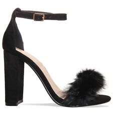 WOMENS ANKLE STRAP LADIES FUR STRAPPY BLOCK HEEL EVENING SANDALS SHOES SIZE 3-8
