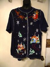White Stag Women's Tacky Ugly Christmas Santa and Sleigh Sweater Vest sz 22W/24W