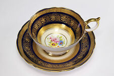 Incredible Hand Painted Cobalt Gold Enameled Aynsley Porcelain Cup and Saucer