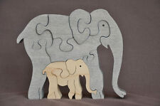 Elephant with Calf Africa Zoo Animal  Amish Made Wood Toy Puzzle  Animal