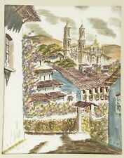 Vintage original pen and watercolor painting art village town villa Spain France