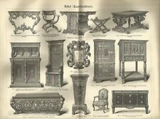 1888 MÖBEL Kunsttischlerei Original alter Druck Antique Print Litho Furniture