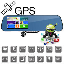 "5"" Android WiFi Car GPS Navigation HD 1080p Dash Cam Dual Lens+Rearview Mirror"