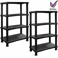 2 x Storage Shelves Unit 4 Tier Extra Large Racking Plastic Home Garage BLACK
