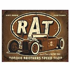 "Rat Rod Vintage Style Metal Tin Sign Hot Rods Chevy Ford Dodge 16"" X 12.5 New"