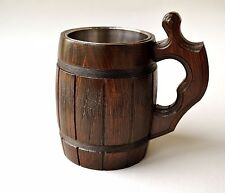 Handmade Beer Mug Oak Wood Stainless Steel Cup 0.5 liters 17ounces Barrel Brown